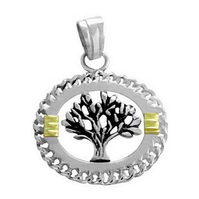 de6b2d40bc Dije árbol de la vida calado con aplique dorado de acero quirúrgico. BH  joyas dijes de acero arbol de la vida por mayor