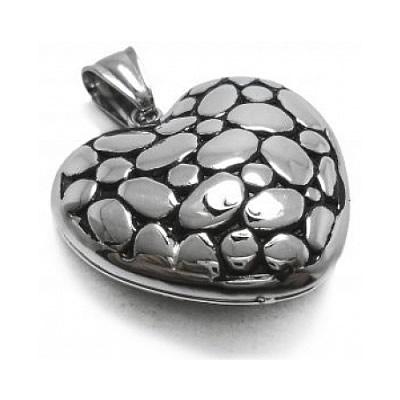785c20088a Dije corazón inflado y tramado de acero quirúrgico. BH joyas dijes corazon  de acero por mayor